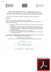 Certificado acreditativo de la competencia para la I1 (Equipos con Sist. Frigoríficos, cualquier carga de refrigerante fluorado)